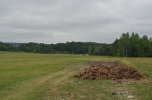 Compost windrows on a hay field in Franklin County, Vermont