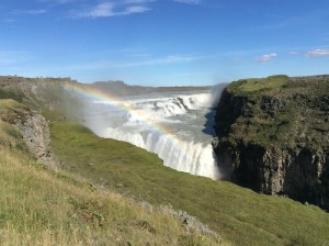 A brave waterfall diving Gullfoss Waterfall, Iceland, Aug 2016